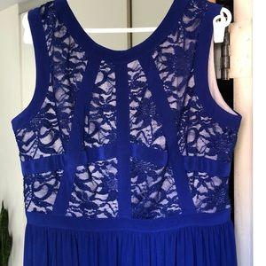 Blue Metallic w/ Lace Evening Dress
